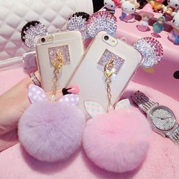 Wholesale Crystal Bowknot Iphone - Luxury 3D Crystal Mickey Ears Bowknot Fur Ball Phone Cases For iPhone 7 6 6S Plus Soft TPU Phone Bags Back Cover Capa