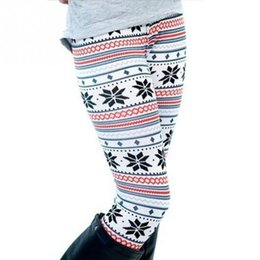 Wholesale Winter Snowflake Leggings - Wholesale- Winter Warm Women Leggings Xmas Snowflake Reindeer Knitted Capris High Waisted Floral Printed Pants