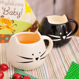 Wholesale Lovers Cats - Wholesale- 300ml Cat Shape Coffee Cup Black And White Mugs Special Lover Cups,JSF-Cups-029