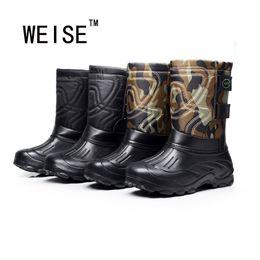 Atacado-de-fundo antiderrapante botas de neve à prova d 'água mais veludo luz botas de pesca homens botas de chuva de alta qualidade tamanho grande 41-46 de