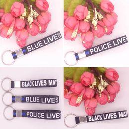 Wholesale Police Car Electronics - Soft Silicone Keychain Wristband Keyring Keychain Simple Blue Black Police Bracelets Key Chain Thin Matter Wristband C74L