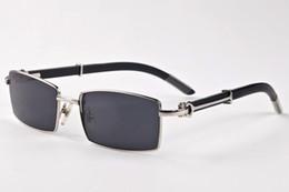 Wholesale Plastic Sports Horn - Fashion full Metal Frame Mens Sunglasses Brand Designer Classic Men's Sport Buffalo Horn Glasses Vintage Sun Glasses