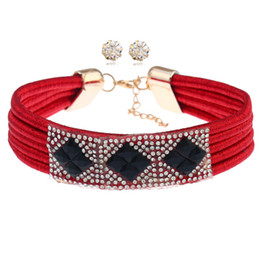Wholesale Multiple Sets Earrings - 2017 Fashion Punk Simple Retro Choker Necklace Earrings Sets Multiple Layers Crystal Cute Black Red 6 Color Necklaces For Women Jewelry