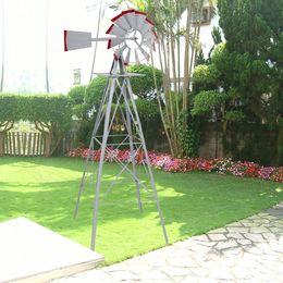 Rosso ornamentale online-8Ft Mulino a vento ornamentale Mulino a vento ornamentale Grigio argento e segnavento da giardino rosso