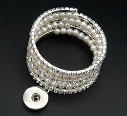 Wholesale Pearl Crystal Bangle Bracelet - New SG0176 Vintage elegant crystal Imitation pearls 5layers snap Bangle Bracelets fit 18MM snap buttons jewelry wholesale