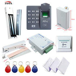 Wholesale Rfid Fingerprint Access - Fingerprint RFID Access Control System Kit Frame Glass Door Set+Electric Magnetic Lock+Card Keytab+Power Supply+Button+DoorBell