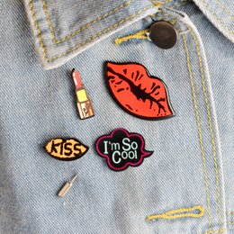 Wholesale Sexy Cool Jewelry - Wholesale- 4pcs set I'm so cool Lipstick Sexy Red Lips KISS Metal Brooch Pins Collar Button Pin Denim Jacket Lapel Pin Badge Gift Jewelry