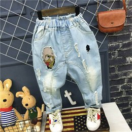 Wholesale Harem Children Jeans - 2017 New Spring Autumn Korean Fashion Children Boys Girls blue Jeans hole Denim Ripped Jeans Harem Pants Kids Trouser Clothing Clothes A159