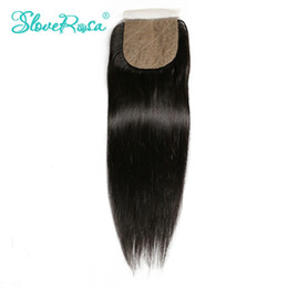 Wholesale Side Part Closures - Slove Rosa Brazilian Silk Base Closure Straight Human Hair Remy Hair 4x4 Silk Closure Free Part Bleached Knots With Baby Hair
