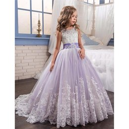 Wholesale Elegant Evening Kids Dresses - 2018 Flower Girl Dresses Elegant Jewel Pageant Dresses Appliques Beads Bow Ball Gown First Communion Dresses for Girl Kids Evening Gown