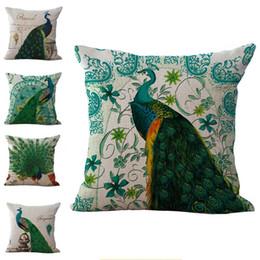 Wholesale Green Peacock Bedding - King of Birds Green Peacock Pillow Case Cushion cover Linen Cotton Throw Pillowcases sofa Bed Pillow covers Drop shipping