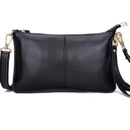 Wholesale Womens Real Leather Bags Messenger - Wholesale- Real Leather Women Messenger Bags Evening Clutch Bag Fashion Women Leather Handbags Crossbody Bag Womens Purses and Handbags New