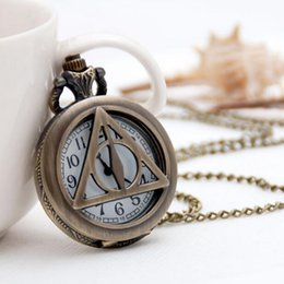 Wholesale Deathly Hollows - Vintage Fashion quartz Harry potter deathly hallows Hollow out bronze woman and man pocket watches