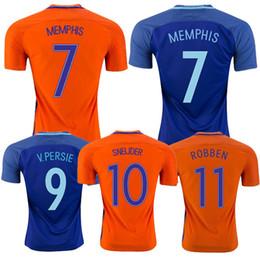 Wholesale holland football shirt - Thai quality 16 17 Netherlands Orange Home Soccer Jerseys Robben SNEIJDER V.PERSIE MEMPHIS 2017 Holland Away blue Football men shirts