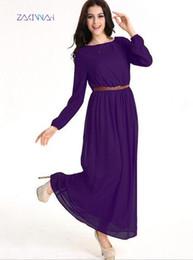 Wholesale Muslim Chiffon Dresses For Women - Abaya turkish chiffon women Muslim Dress Islamic gown for women robe Dubai dress gown D199