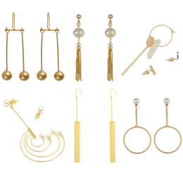 fish hook charm fishing pendant Promo Codes - idealway Fashion Jewelry 18K Gold Plated Alloy Geometry Shape Pearl Simple Pendant Waterdrop Fish Hook Dangle Stud Earrings