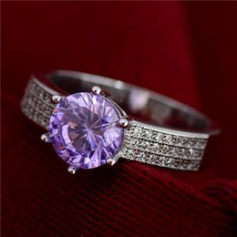 Wholesale Purple 925 Silver Ring - Free Shipping 1pc 925 Sterling Silver Purple Classic Cubic Zirconia Fashion Jewelry Womens Ring Size 6 7 8 9