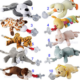 Wholesale Newborn Babies Product - 10 Style New silicone animal pacifier with plush toy baby giraffe elephant nipple kids newborn toddler kids Products include pacifiers B001