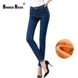 Wholesale Womens Plus Jeans - Wholesale- Warm Winter Jeans Women Plus Size Velvet Thick High Waist Elastic Slim Cotton Long Skinny Denim Jeans Womens High Quality 2016