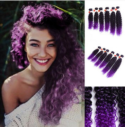 Wholesale Synthetic Curly Hair Wefts - 14-18inch 6pcs pack Jerry Curly Weave Hair Extension Sew in Synthetic Weaving Hair Wefts Kinky Curly Ombre Bundles One pack full head