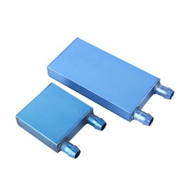 Wholesale Random Lights - 40*80*12mm Aluminium Water Cooling Waterblock Liquid Cooler Heatsink Block For CPU Dark Blue or Light Blue Send Random
