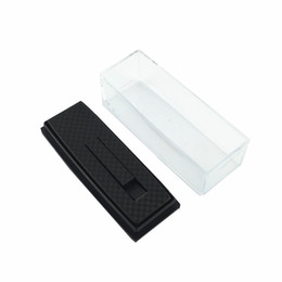 Wholesale Ties Gift Box - tie clip box simple design Black plastic Gift Box Case for Tie Bar good quality CTB301