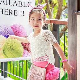 Wholesale Girls Crochet Shirt - Girls lace hollow out T-shirt 2017 summer new children lace crochet T-shirt + suspender vest 2pcs sets fashion kids clothes T2320