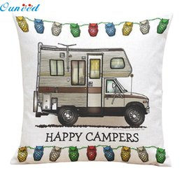 Wholesale Print Design Throw Pillows - Wholesale- Homey Design Cute Waist pillow case Happy Campers pillow cover throw cushion decal Linen blend metereial Free Ship JA19