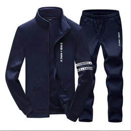 Wholesale Plus Size Sport Set - Plus Size Mens Sweat Suits Zipper Sweatshirts Jackets+Pants Jogger Sporting Suits Mens Tracksuit Sets Sudaderas Hombre