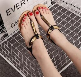 Wholesale Elastic Strap Gladiator - 2017 summer new Europe and the United States clip toe flat sequins PU elastic slip-on sandals comfortable Gladiator women sandals