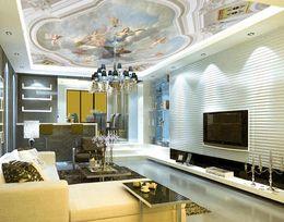 azulejos de baño de mosaico verde Rebajas Mural Ceiling European Style Angel Zenith Mural mural 3d fondos de pantalla 3d papeles de pared para telón de fondo de televisión