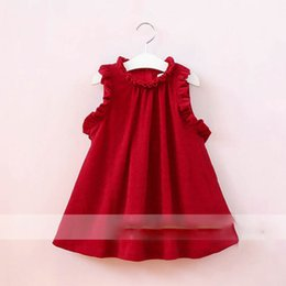 Wholesale Halter Ruffle Vintage Dress - Everweekend Girls Ruffles Red Halter Dress Western Fashion Sweet Children Clothing Vintage Korea Lovely Baby Dress