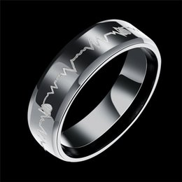 Wholesale titanium couple ring black - Titanium Steel Ring Black Heartbeat Ring ECG Heart Band Ring Finger Rings band Cuffs for Women Men Love Couple Rings Jewelry 080207