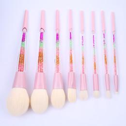 Wholesale Acrylic Hair Brushes - 8pcs Rainbow Crystal Makeup Brushes Set Soft Hair Brush Powder Shadow Cream Eyeshadow Blush Brush Cosmetic Acrylic Makeup Brush Tool Kit