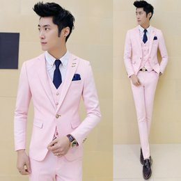 Wholesale- 3 pezzo (Jacket + Vest + Pant) Pink Tuxedo Slim Fit Ragazzi Abiti da ballo con pantaloni Mens Abito da sposa per uomo Party Dress Costume Nero da