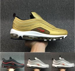 Wholesale Wholesale Shoe Cushions - Best price Max 97 Running Shoes Sport Men 2017 High Quality White Black Sneakers Maxes 97 Breathable Cushion Sports Baby, Kids Shoes