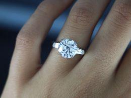 Wholesale Baguette Diamond Rings - 4.59ct Round Diamond Baguette Platinum Engagement Ring