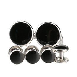 Wholesale Cuff Links Studs - Argositment Fashion Men 2pcs cufflinks & 4 pcs Studs & 1 Tie Clip with Packing