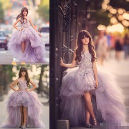 Wholesale Junior High Pageant Dresses - 2017 Beautiful High Low Girl Pageant Dresses for Teens 3D Floral Appliques Hand Made Flowers Tieres Tulle Junior Birthday Party Gowns