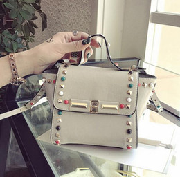 Wholesale Diamante Wings - Factory wholesale brand female bag wings of multicoloured gem bag candy color quality leather women handbags worn han edition rivet handbag