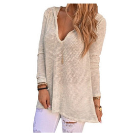 Wholesale Baggy T Shirts Womens - Wholesale- Hollow Out Women Baggy Fit V Neck Hooded Knitwear Pullover Sexy Womens Tops T-shirt Tee Shirt Femme Camisetas Mujer