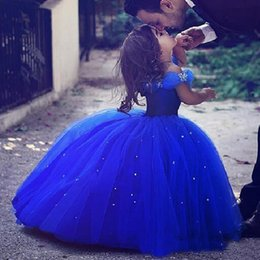 Wholesale White Cinderella Gowns - 2017 Newest Design Long Princess Cinderella Flower Girl Dresses Off-shoulder Floor Length Ball Gown Royal Blue Kids Pageant Gowns