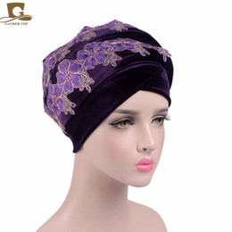 Wholesale Africa Flowers - New 3D flower embroidery long velvet turban Head Wrap stylish head scarf women africa hijab free shipping