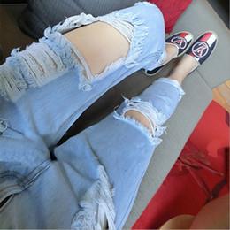 Wholesale Korean Wearing Harem Pants - Big Size Loose Hole Jeans Female Thin Summer scratch Worn Nine Korean haren pants Ripped Girl baggy jeans True Blue Jean