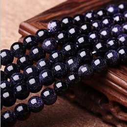 Wholesale Gemstones Beads Free Shipping - Free shipping 8mm Round Natrual Blue sand stone Beads gemstone Loose Beads For Bracelet Jewelry Making more colors for choice