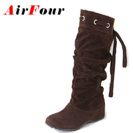 Wholesale Sexy 43 - Wholesale- Airfour 4 Color Half Boots Women Lady Winter Boots Footwear Wedge Shoes Fashion Sexy Snow Boots Warm EUR Size 34-43