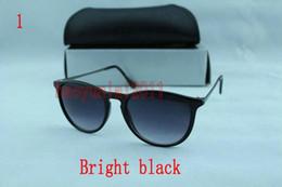 Wholesale Polished Sunglasses - 1pcs Top Quality Fashion Sunglasses For Man Woman Erika Eyewear Designer Brand Sun Glasses Polished Black 54mm Lenses Box Case*bhj