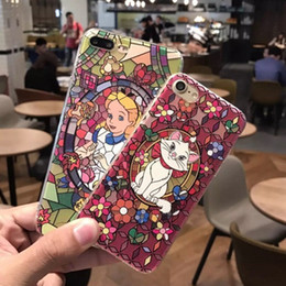 Wholesale Alice Iphone - For iphone7 8 plus cell phone cases with iphone6s fantasy Alice Cartoon Mermaid Relief Soft Cat Protection TPU Case 2017 new free shipping
