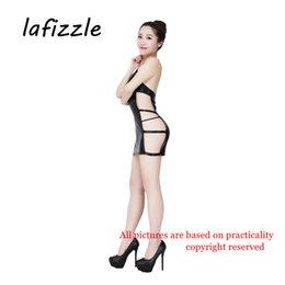 Wholesale Lingerie Backless Bodysuit - LAFIZZLE sexy Lingerie Pvc catsuit bodysuit Backless Dress for Women Black Costumes
