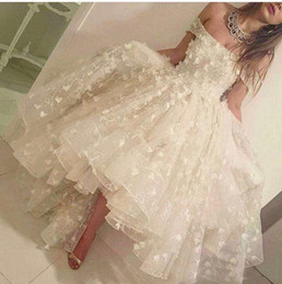 Wholesale Short Waist Ball Gown - 2017 New Fashion Off the Shoulder Lace Handmade Flowers Pearl Beaded Natural Waist Front Short Long Back Ivory Wedding Dresses